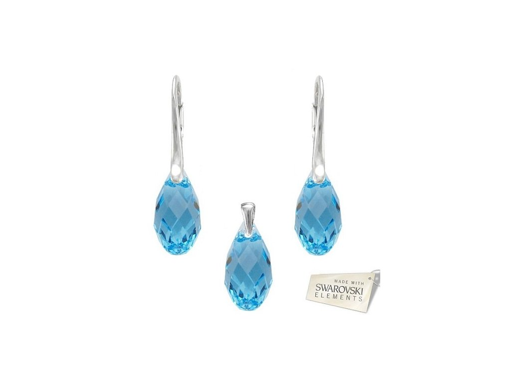 Set BRIOLETTE s kryštálmi Swarovski Elements Aquamarine 17 mm