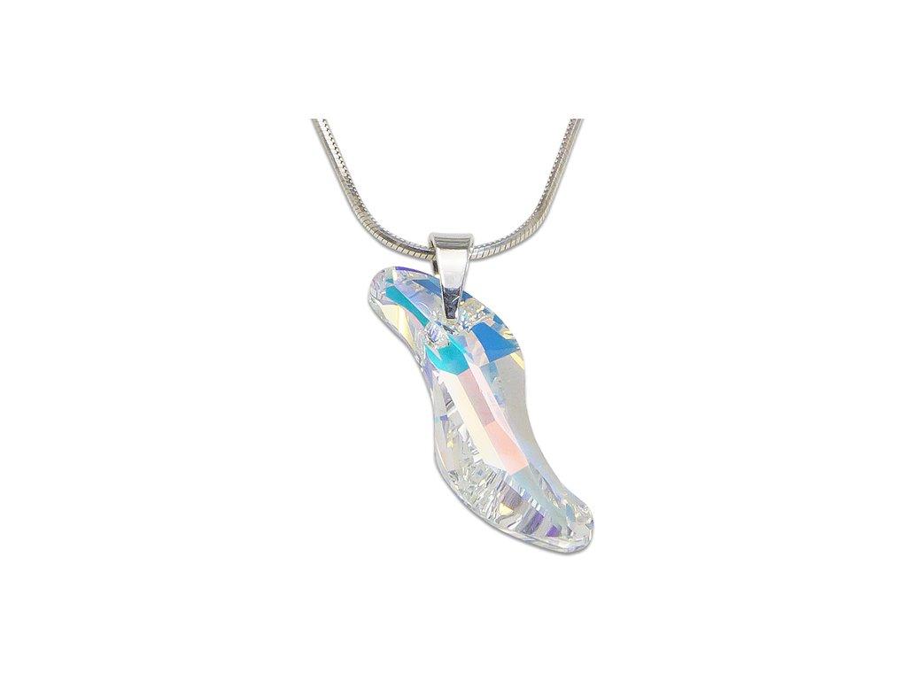 Strieborný náhrdelník Swarovski® Wave Crystal AB 28 mm