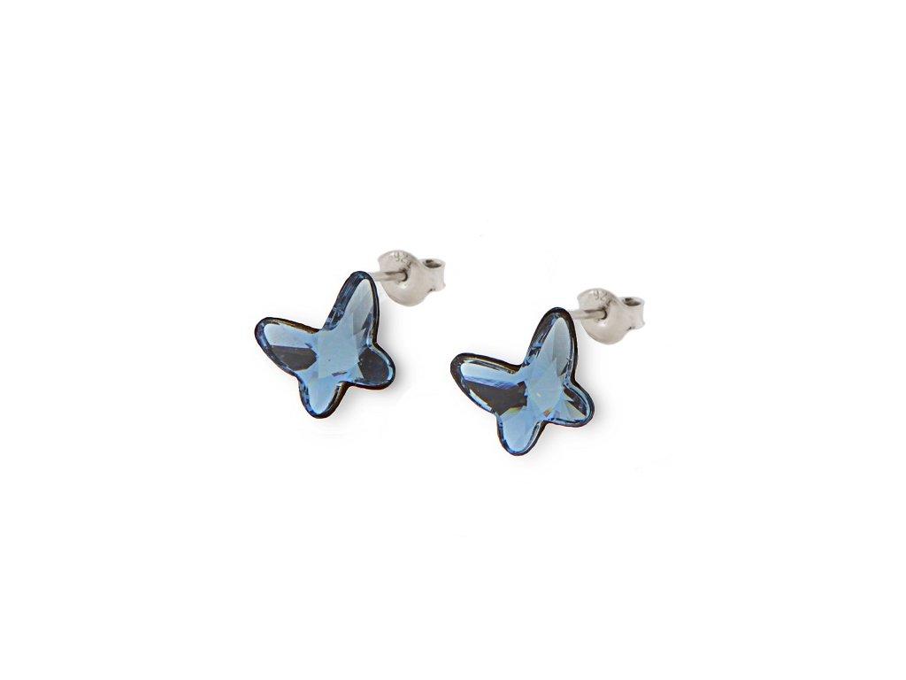 Náušnice BUTTERFLY s kryštálmi Swarovski Denim Blue modré