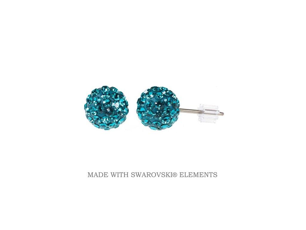 Náušnice zirkónové guličky DiscoBall s kryštálmi Swarovski® Blue Zircon