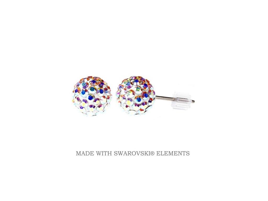 Náušnice farebné guličky DiscoBall s kryštálmi Swarovski® AB