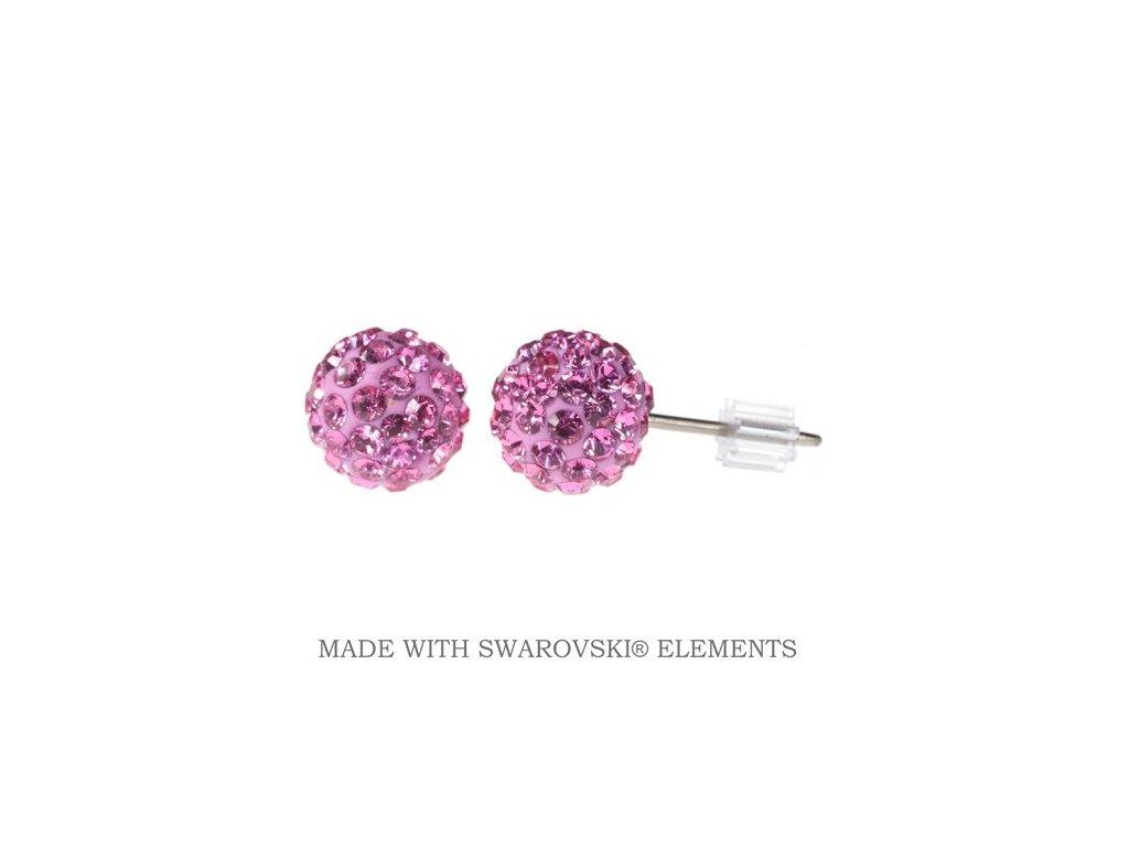 Náušnice ružové guličky DiscoBall s kryštálmi Swarovski® Rose