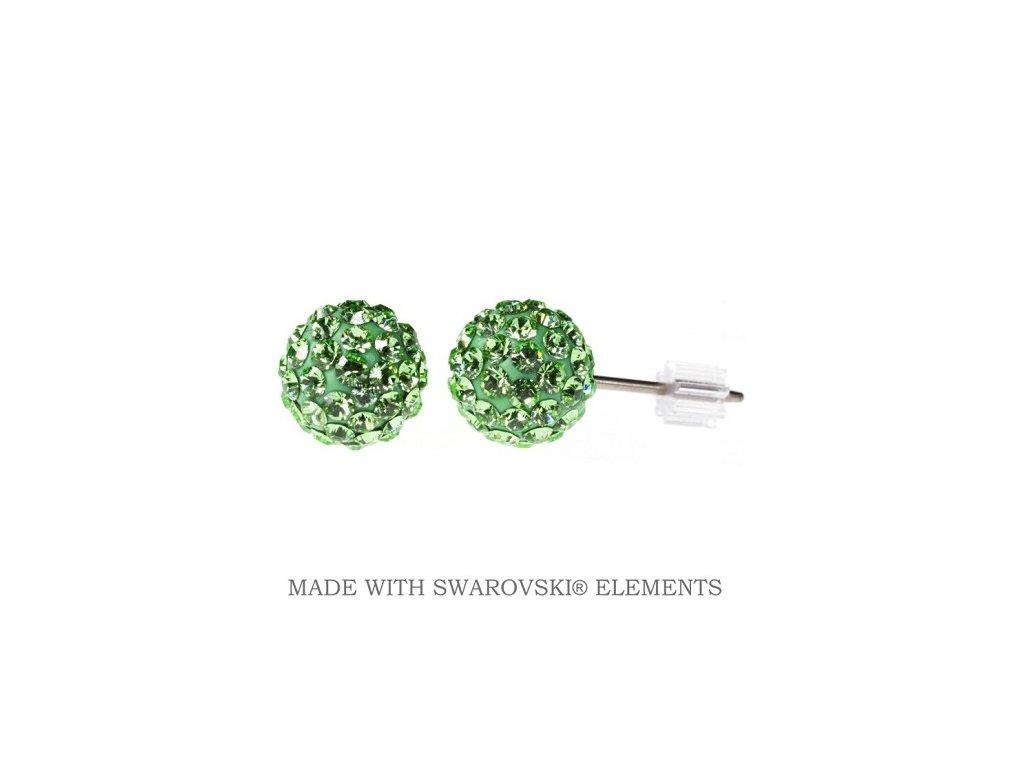 Náušnice zelené guličky DiscoBall s kryštálmi Swarovski® Peridot