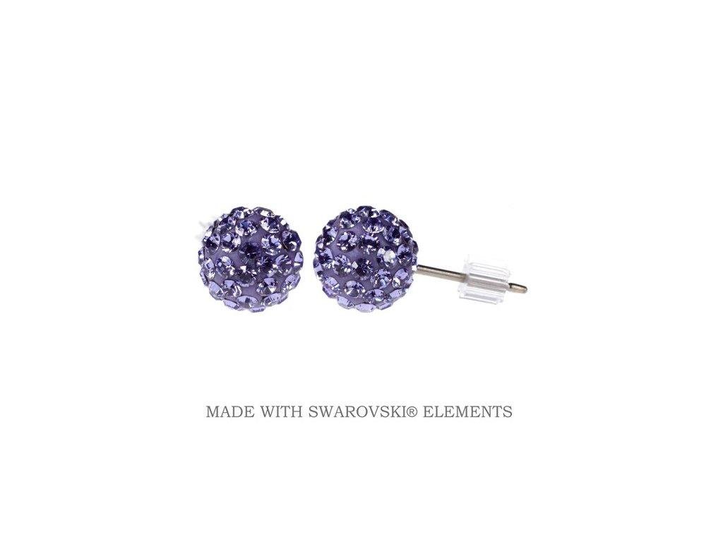 Náušnice fialové guličky DiscoBall s kryštálmi Swarovski® Tanzanite