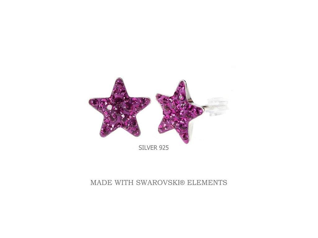 ružové swarovski náušnice hviezdy fuchsia
