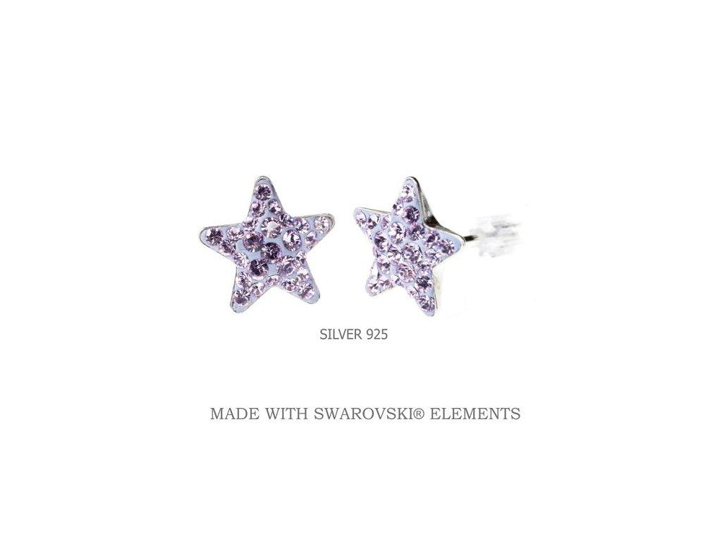 fialové hviezdičkové swarovski náušnice