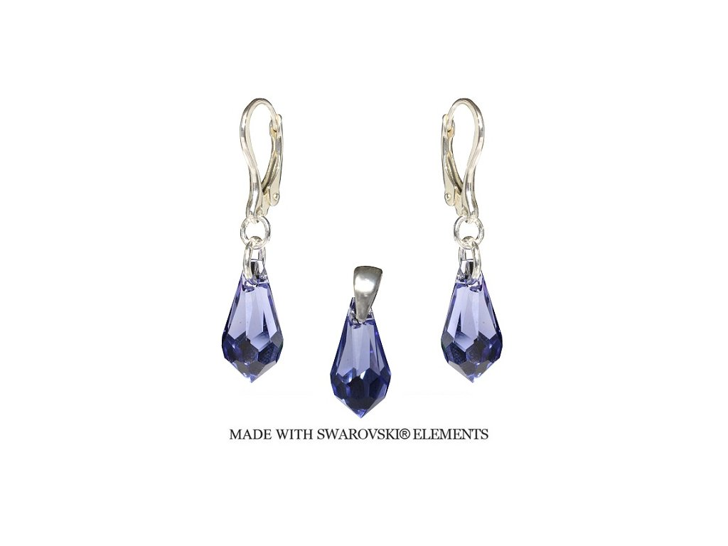 Set Teardrop s kryštálmi Swarovski Elements Tanzanite