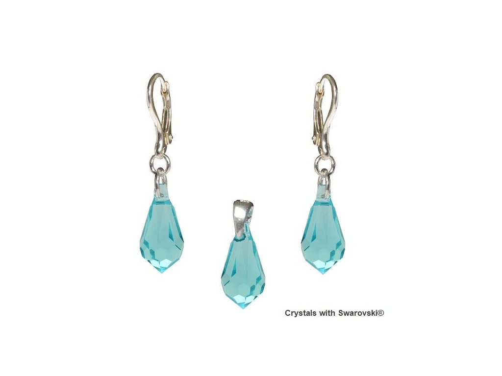Set Teardrop s kryštálmi Swarovski Elements Light Turquoise