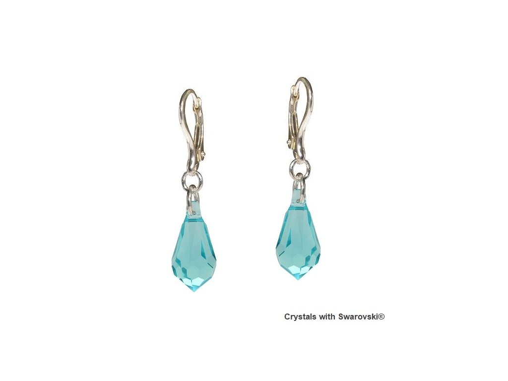 Náušnice Teardrop s kryštálmi Swarovski® Light Turquoise