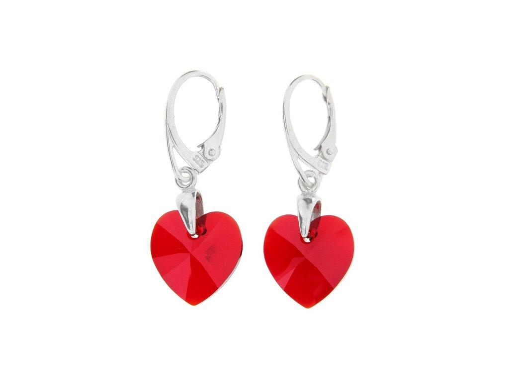 Náušnice srdce Swarovski® Heart červené Light Siam 14 mm