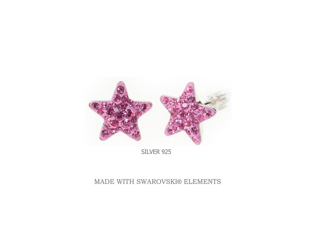 ružové Swarovski hviezdičkové náušnice