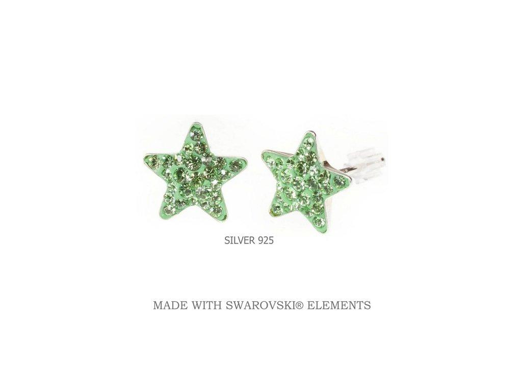 zelené hviezdičkové Swarovski náušnice