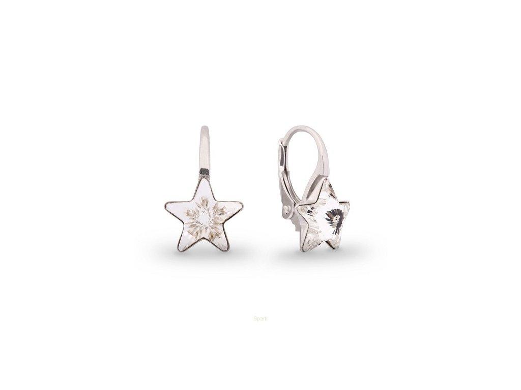 Strieborné náušnice Swarovski Elements STARS Crystal 10 mm