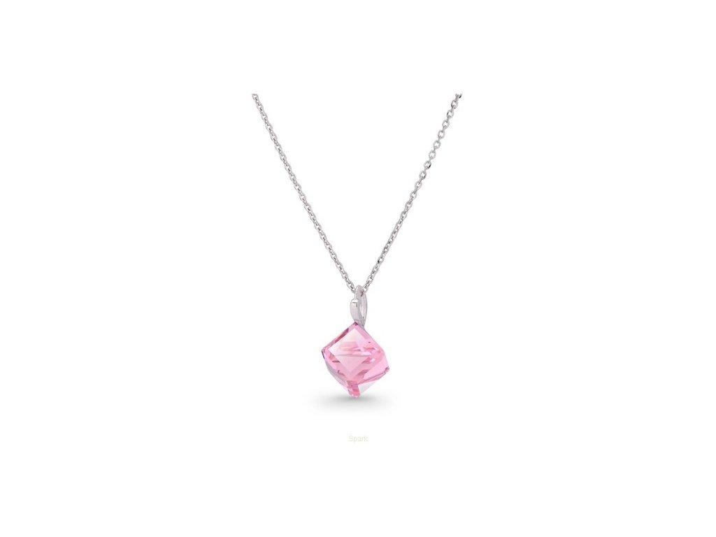 Náhrdelník Swarovski Elements kocka ružová Light Rose