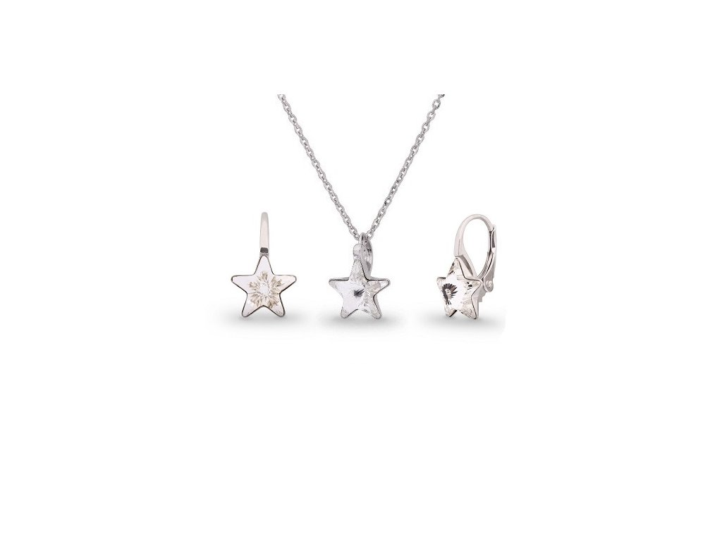 Strieborný set Swarovski Elements STARS Crystal 10 mm