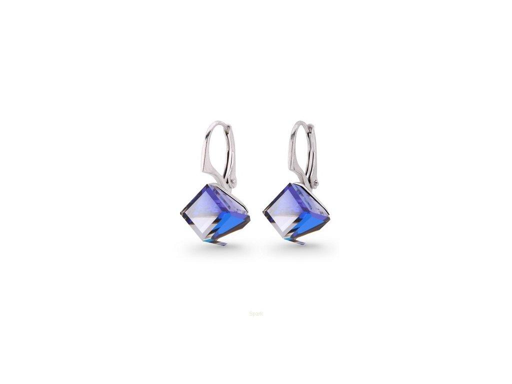 Strieborné Swarovski® kocky náušnice modré Bermuda Blue