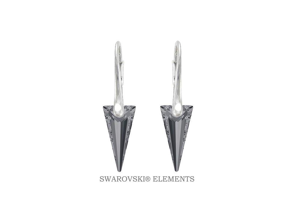Náušnice s kryštálmi SPIKE Swarovski® čierne Silver Night 18 mm