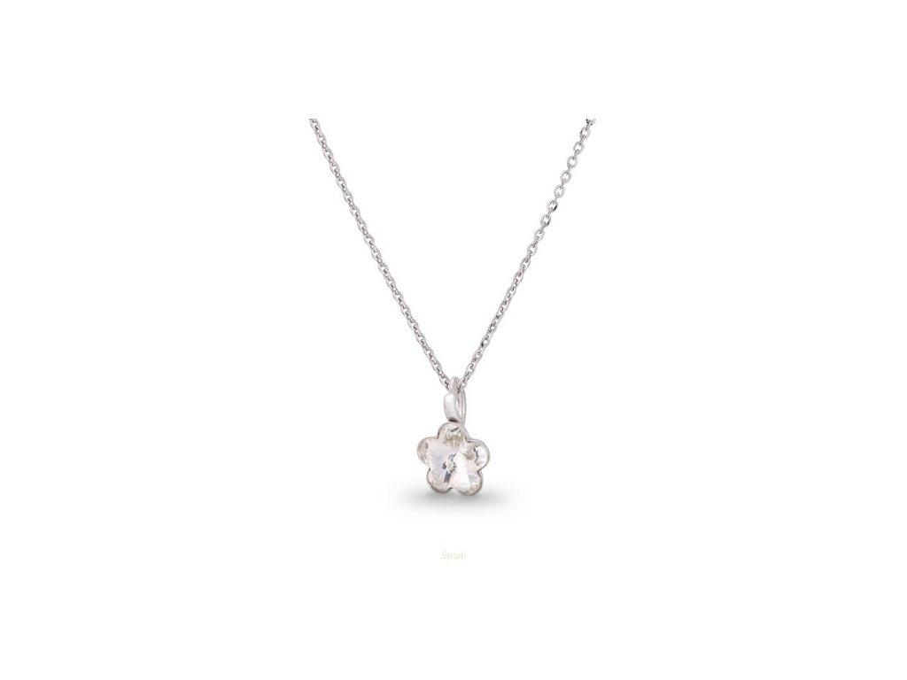 SWAROVSKI-nahrdelnik-kvietok-biely-strieborny-s-retiazkou-flower-crystal