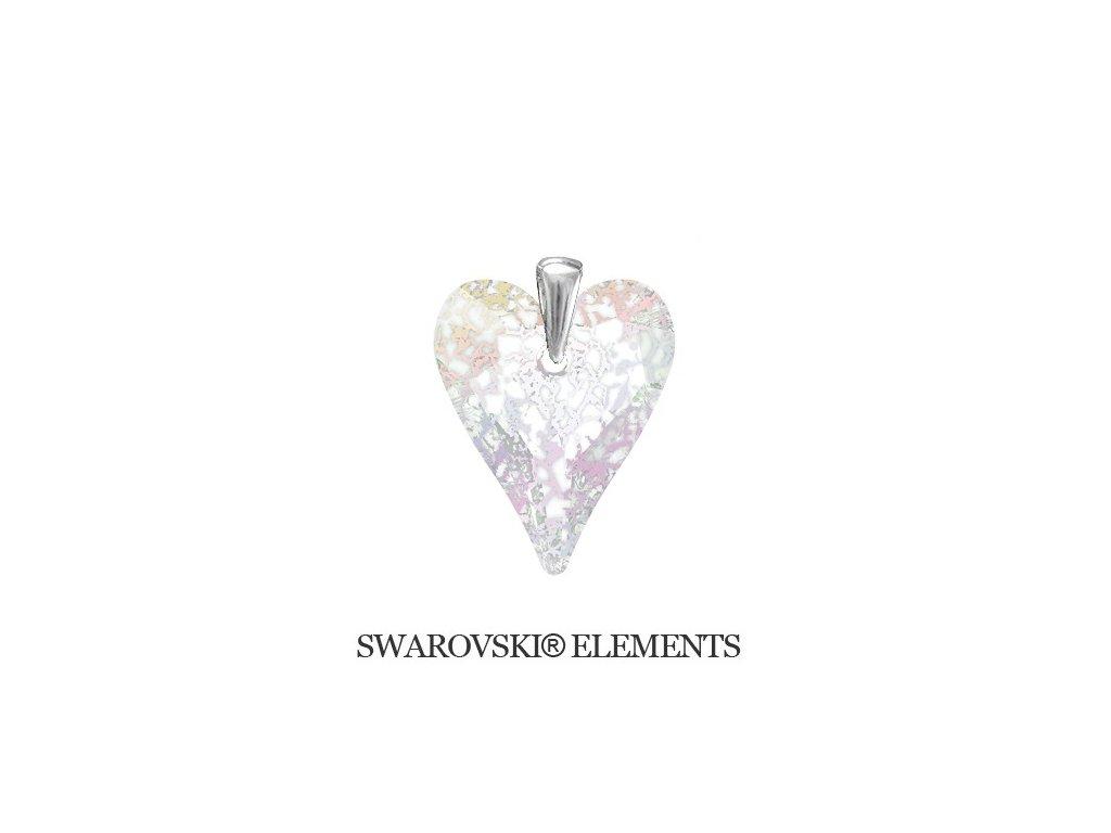 Prívesok s kryštálom Swarovski® divoké srdce White Patina 27 mm
