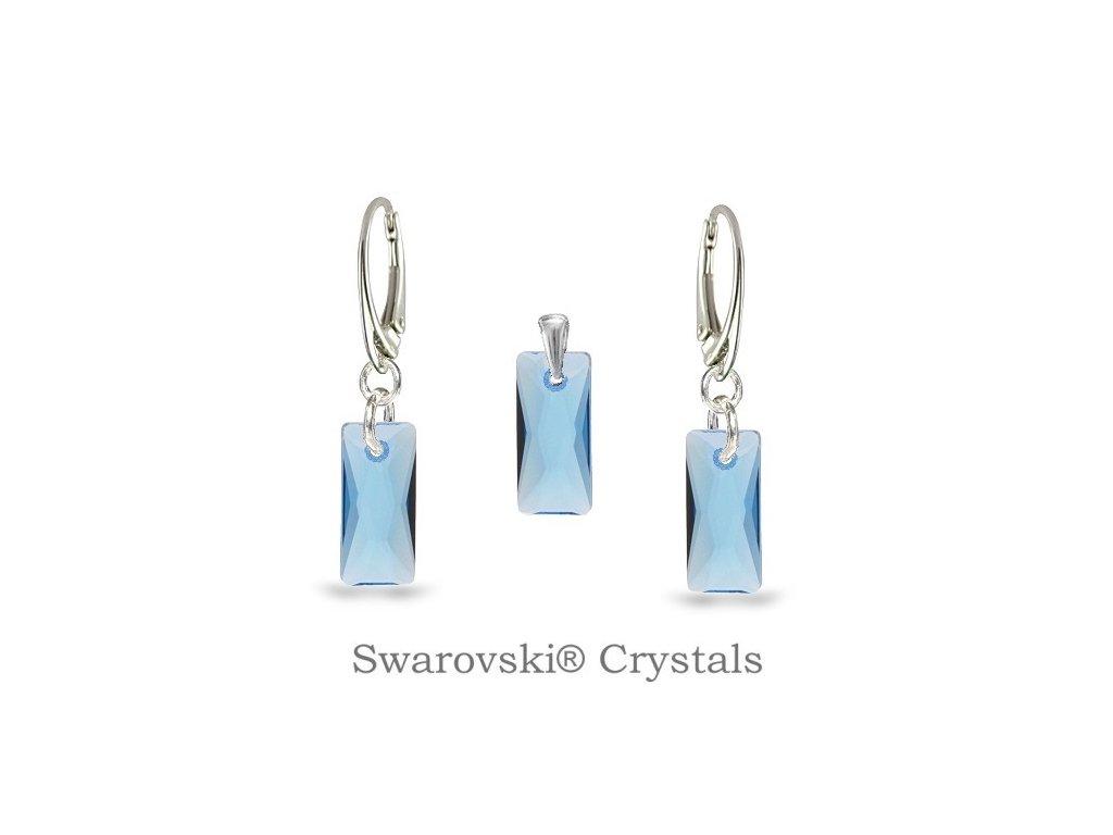 modrý aquamarine set swarovski baguette