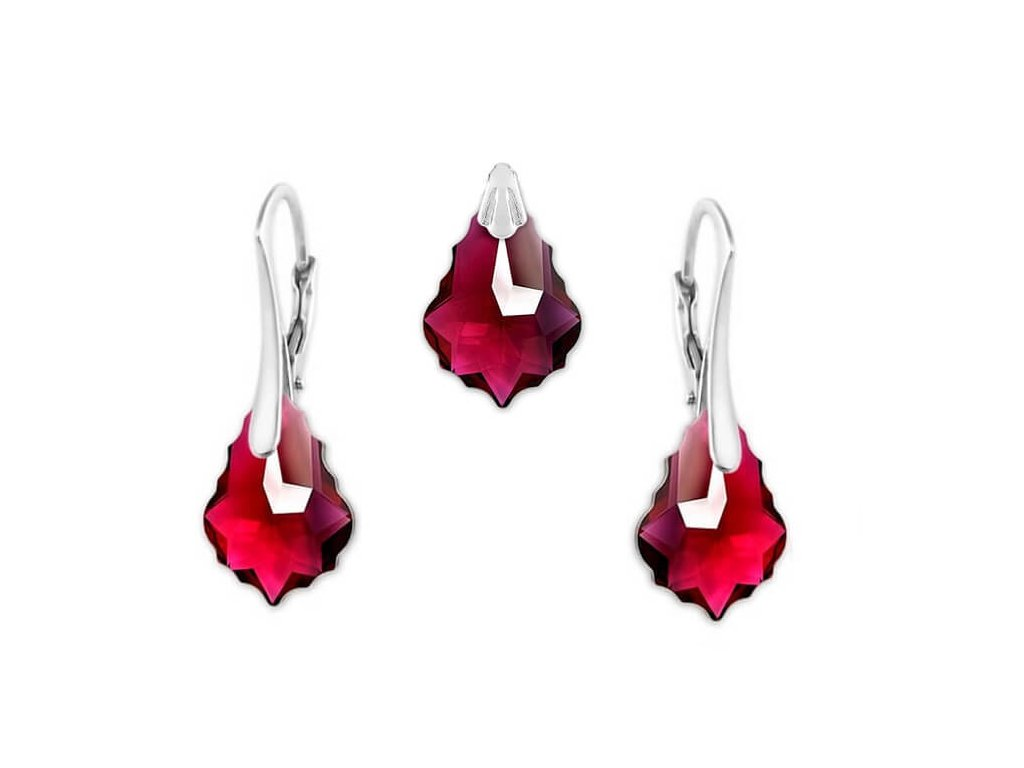 Set s kryštálmi Swarovski Elements Baroque Ruby 16 mm