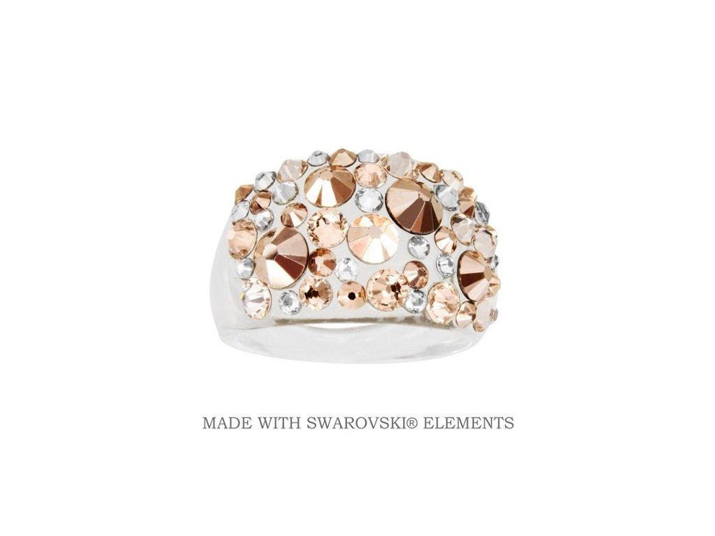 Prsteň Bubble s kryštálmi Swarovski Elements Gold