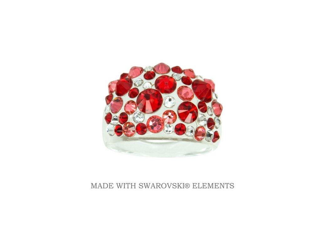 Prsteň Bubble s kryštálmi Swarovski Elements Light Siam