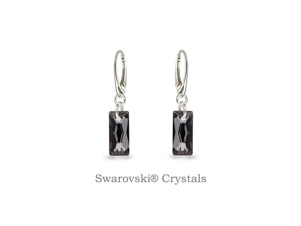 čierne visiace swarovski® náušnice baguette silver night