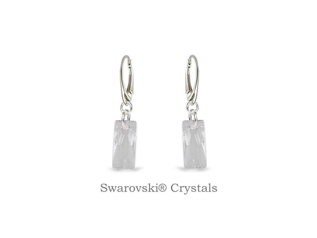 biele náušnice baguette swarovski crystal