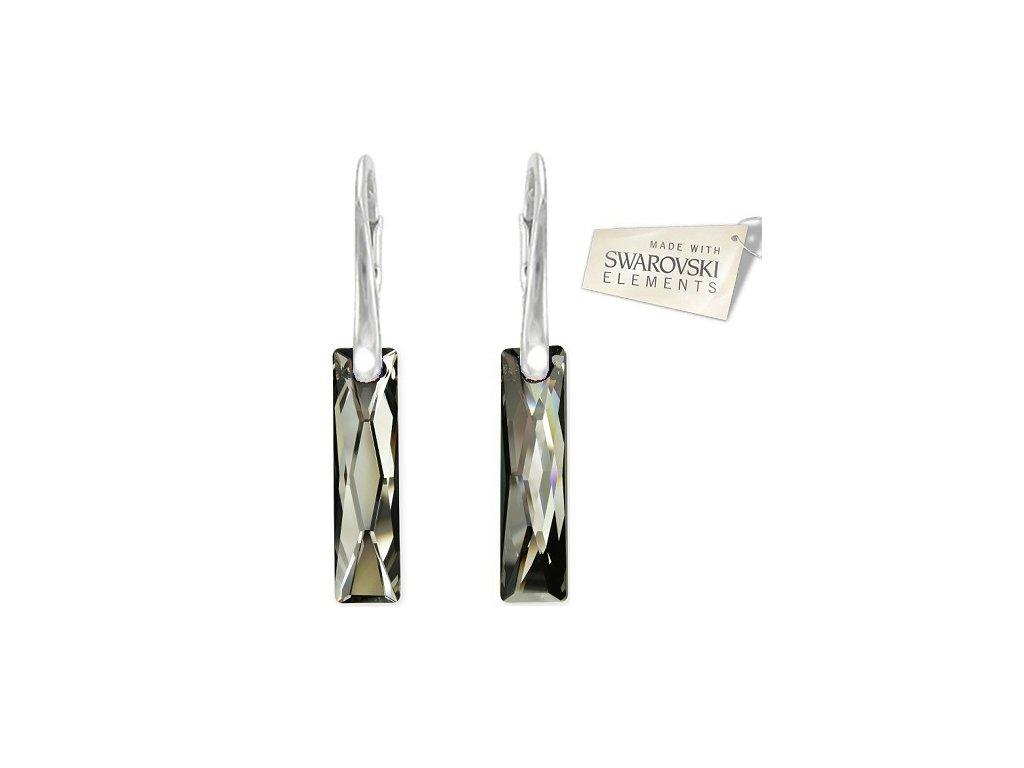 Náušnice Swarovski Elements Baguette Silver Night 25 mm