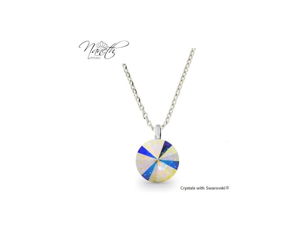 Strieborný náhrdelník Naneth s dúhovým kryštálom Swarovski AB 12 mm