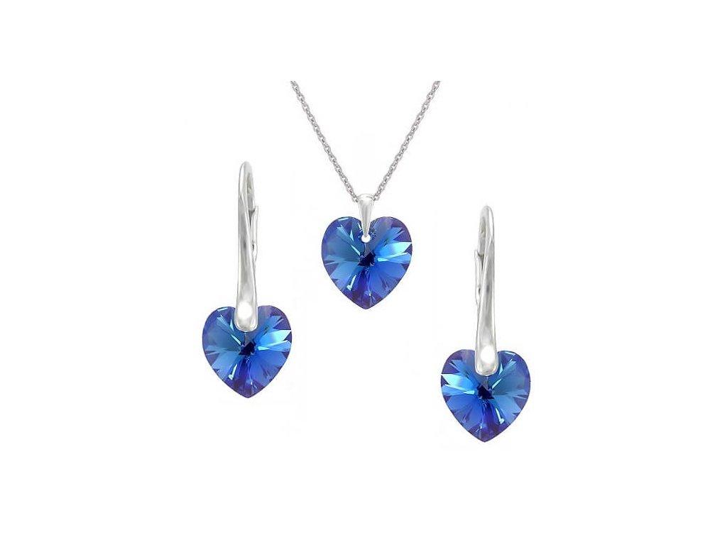 Modrá srdiečková súprava Naneth s kryštálmi Swarovski Sapphire 10 mm