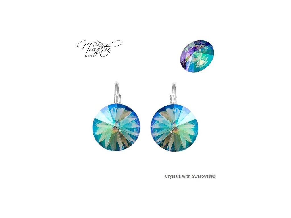 Strieborné náušnice Naneth Rivoli tyrkysovo-farebné s kryštálmi Swarovski Paradise Shine 12 mm