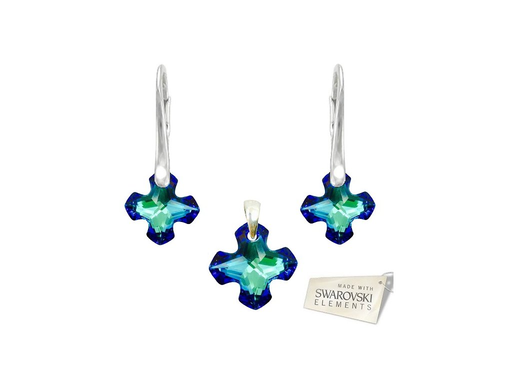 Set s kryštálmi GREEK CROSS Swarovski Elements Bermuda Blue