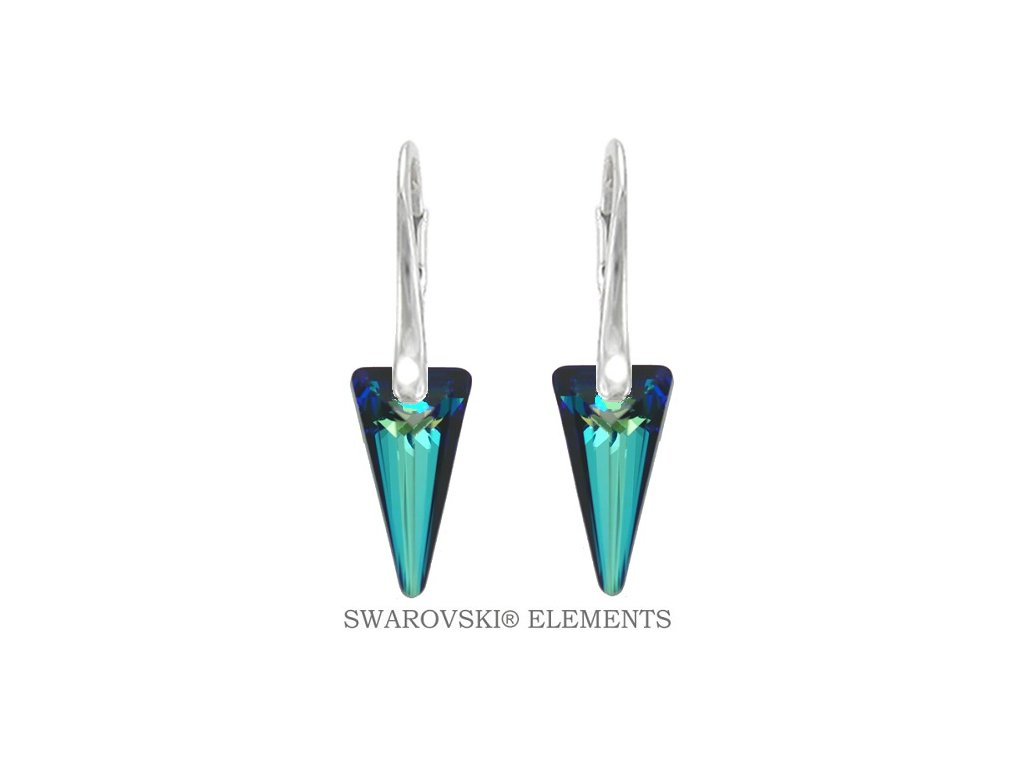 exkluzívne modré Swarovski náušnice Spike - strieborné