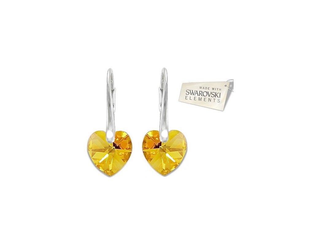 Srdiečkové žlté náušnice Naneth s kryštálmi Swarovski Metallic Sunshine