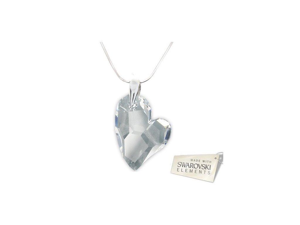 Náhrdelník srdiečko Swarovski Elements Devoted2you Crystal 27 mm