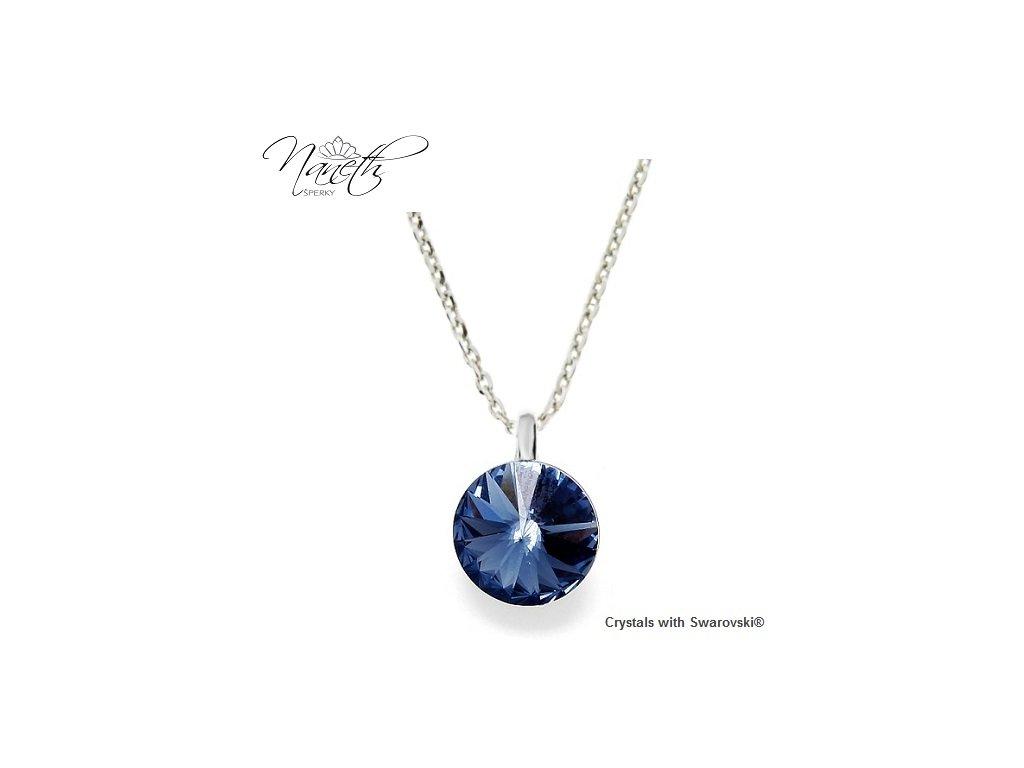 Strieborný náhrdelník Naneth s modrým kryštálom Swarovski Montana 12 mm