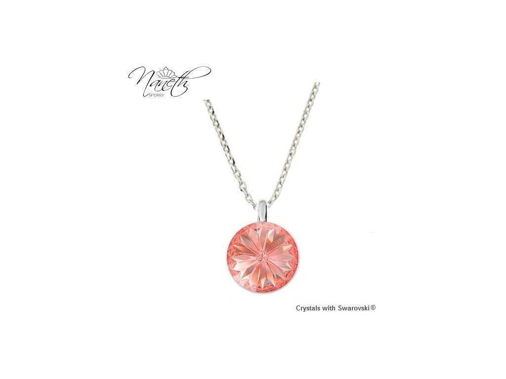 Strieborný náhrdelník Naneth s broskyňovo-ružovým kryštálom Swarovski Rose Peach 12 mm