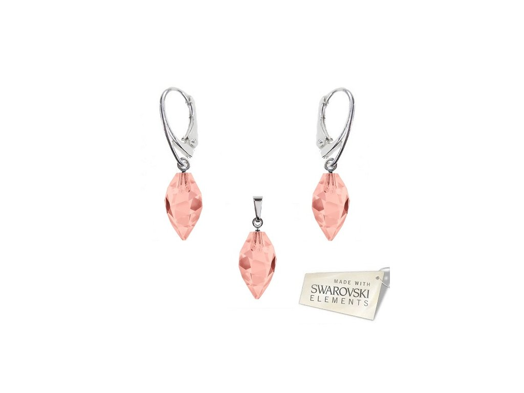 Set s kryštálmi Swarovski Elements TWISTED DROP Blush Rose