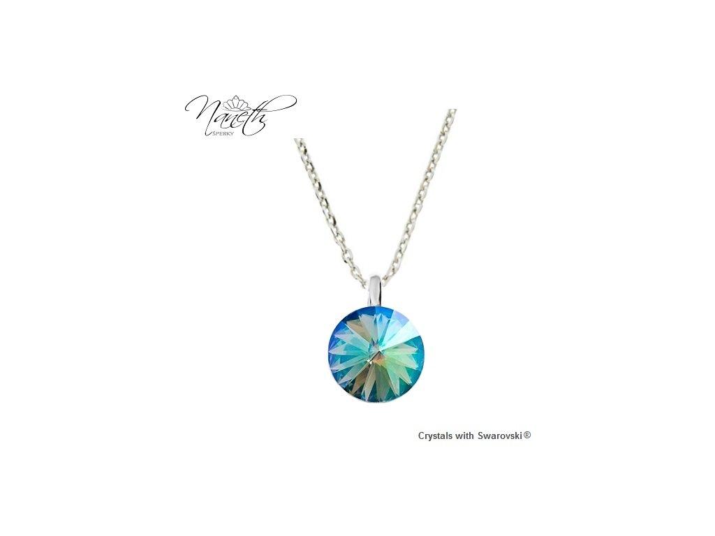 Strieborný náhrdelník Naneth s farebným kryštálom Swarovski Paradise Shine 12 mm