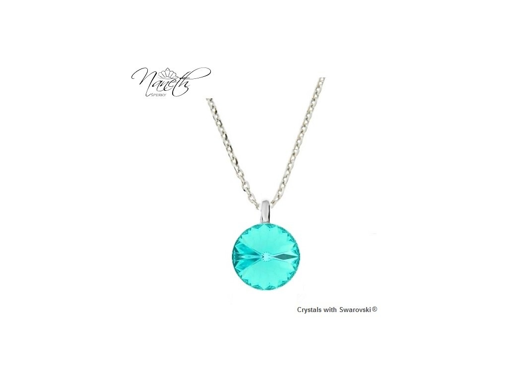 Strieborný náhrdelník Naneth s tyrkysovým kryštálom Swarovski Light Turquoise 12 mm