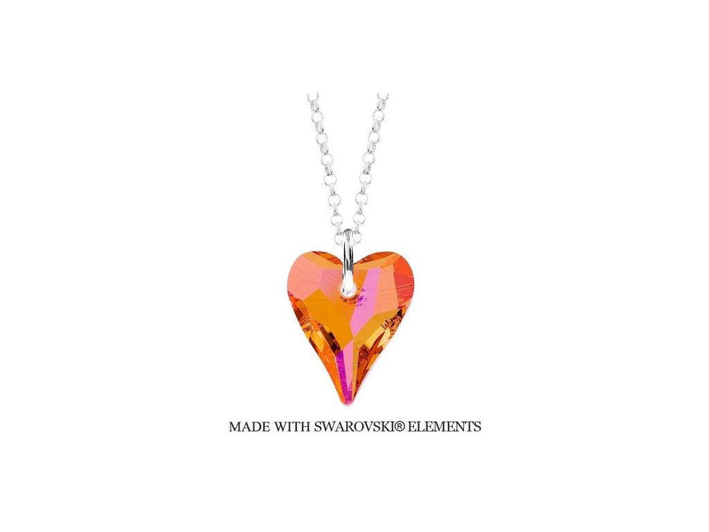 Náhrdelník divoké srdce Swarovski Elements Astral Pink 17 mm