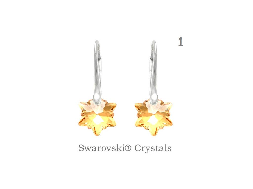 Náušnice s kryštálmi Swarovski Elements EDELWEISS Golden Shadow