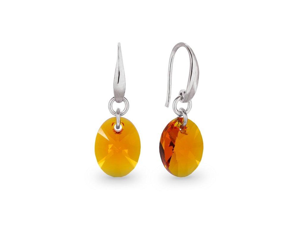 Náušnice OVAL s kryštálmi Swarovski Tangerine - háčikové