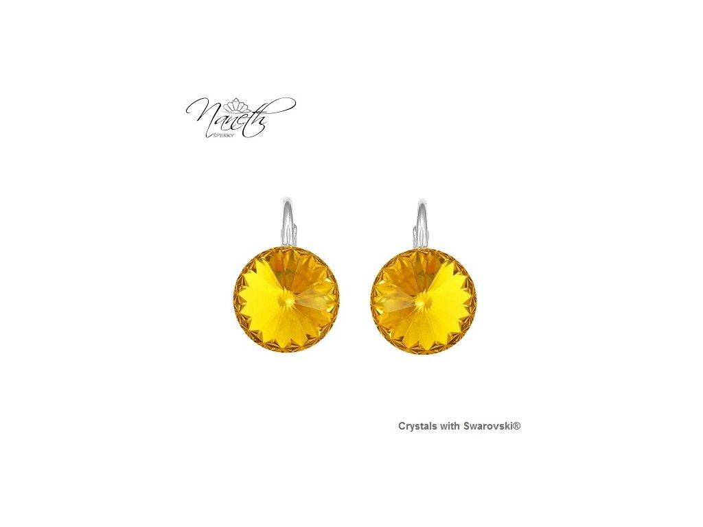 Strieborné náušnice Naneth Rivoli žlté s kryštálmi Swarovski Sunflower 12 mm