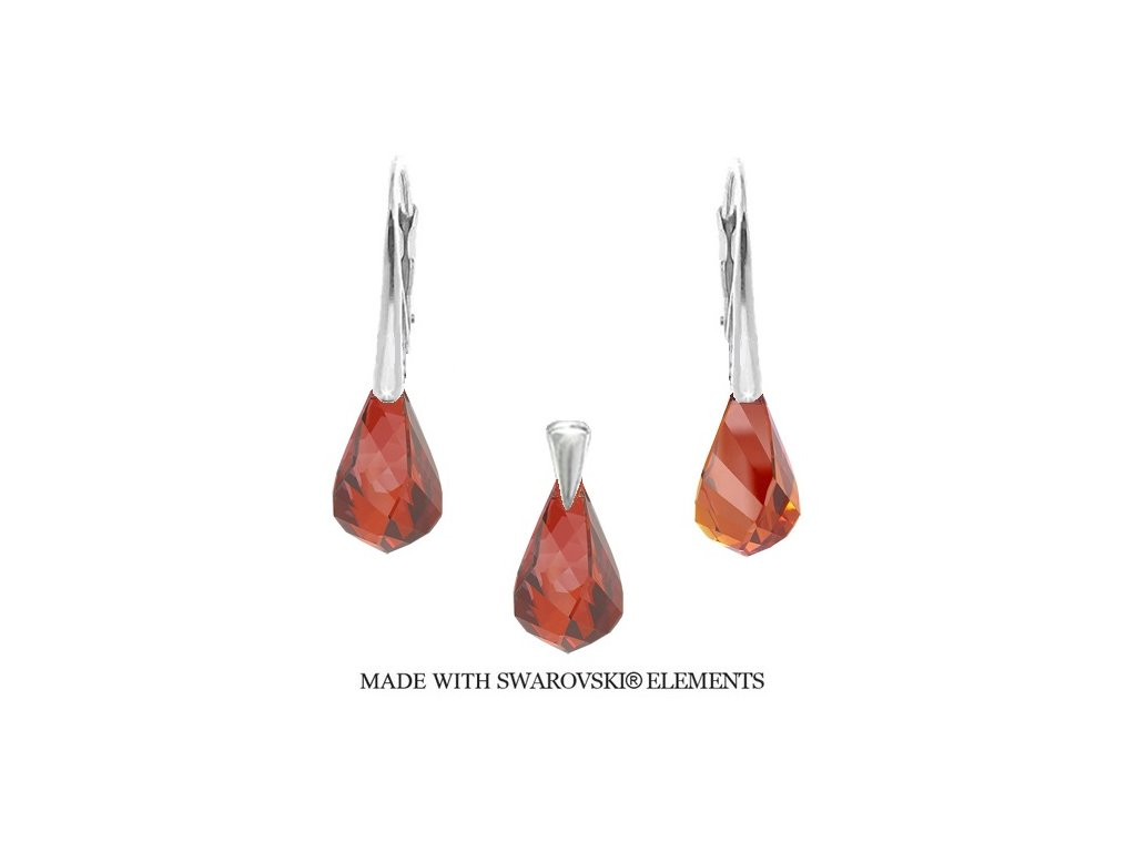Swarovski Elements set Helix Red Magma 18 mm