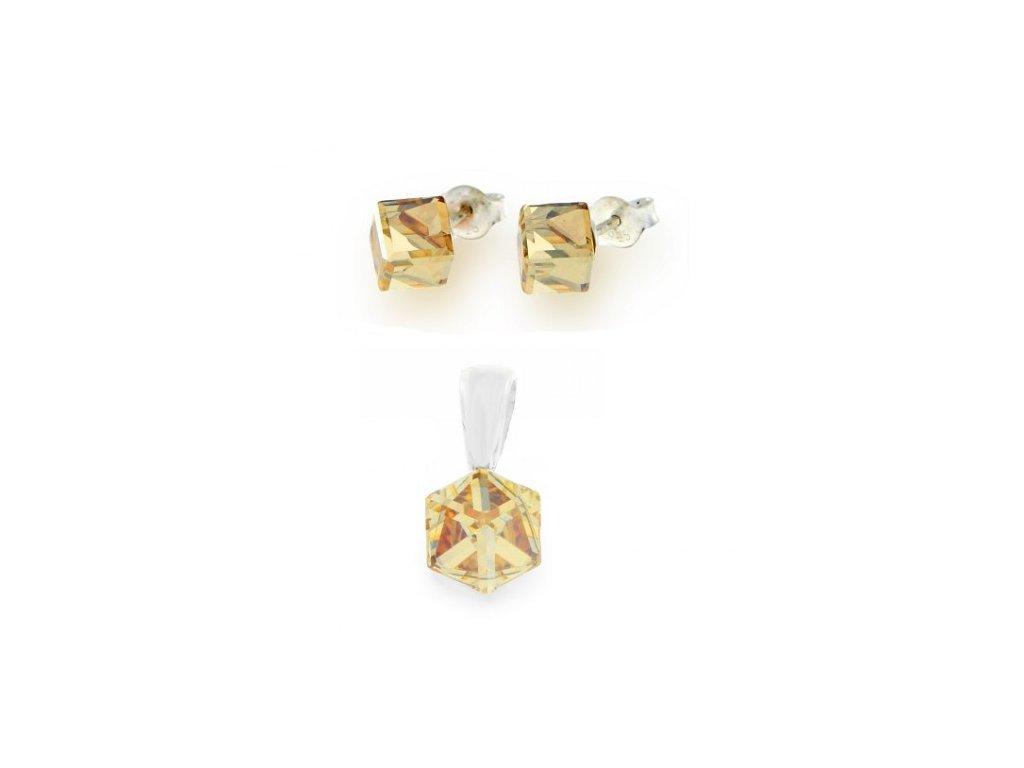 Strieborný set so zlatými kockami Swarovski® Golden Shadow