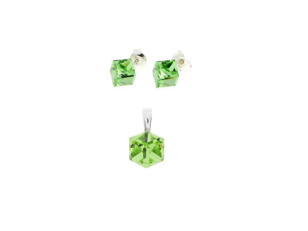 Zelený dámsky set Swarovski® kocky Peridot