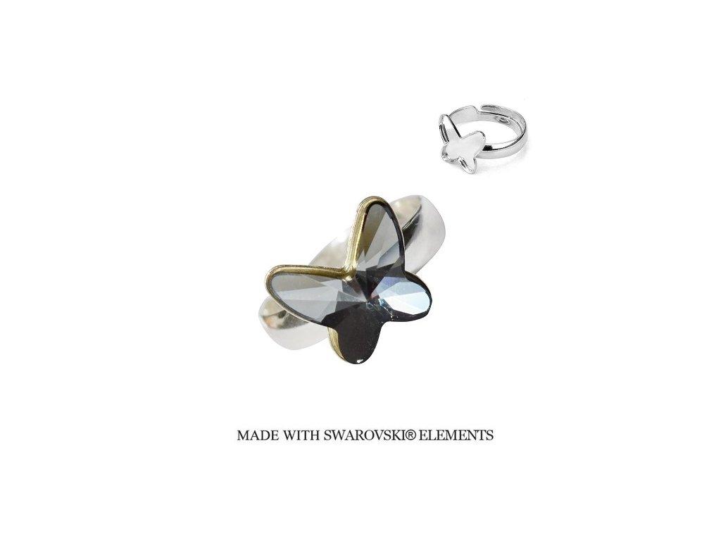 Strieborný prsteň motýlik s kryštálom Swarovski BUTTERFLY Silver Night čierno-strieborný